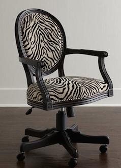 zebra print office chair round reading animal home