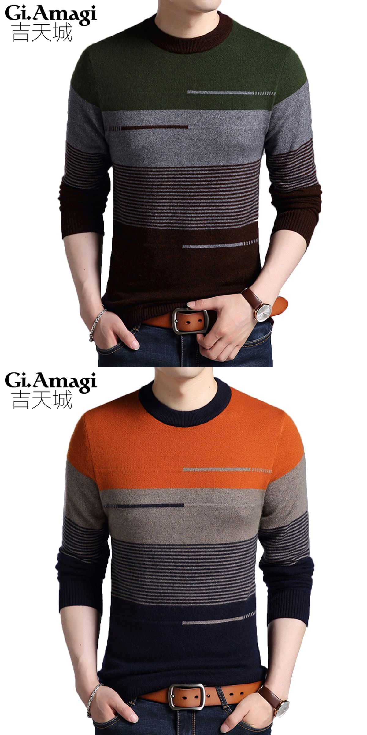 2017 New Men s Round Neck Mink Sweater Men s Sweater Fashion Hit Color Mens  Striped Sweater Strickpullover d47400c9fc