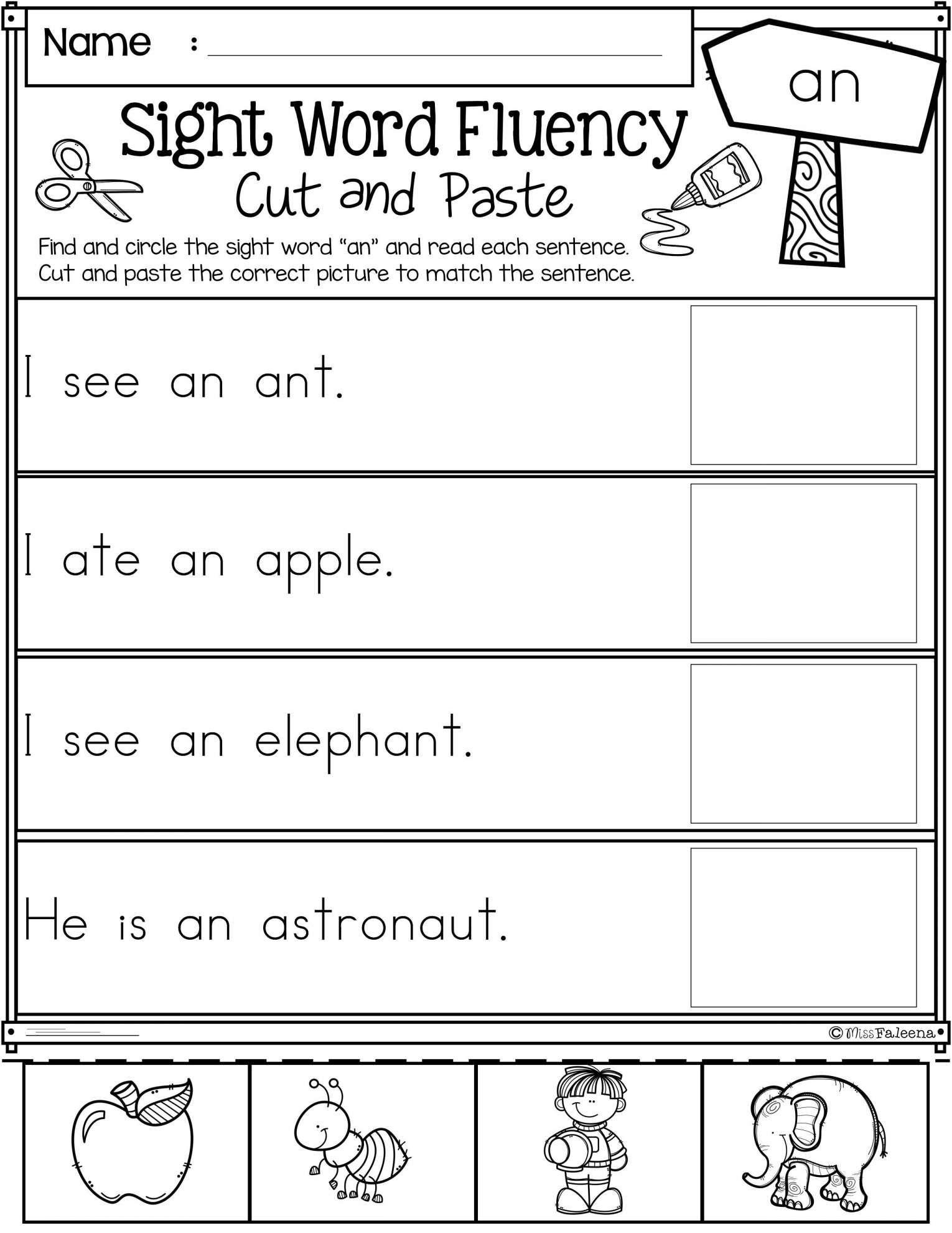 Preschool Worksheet With Short Words And Preschool