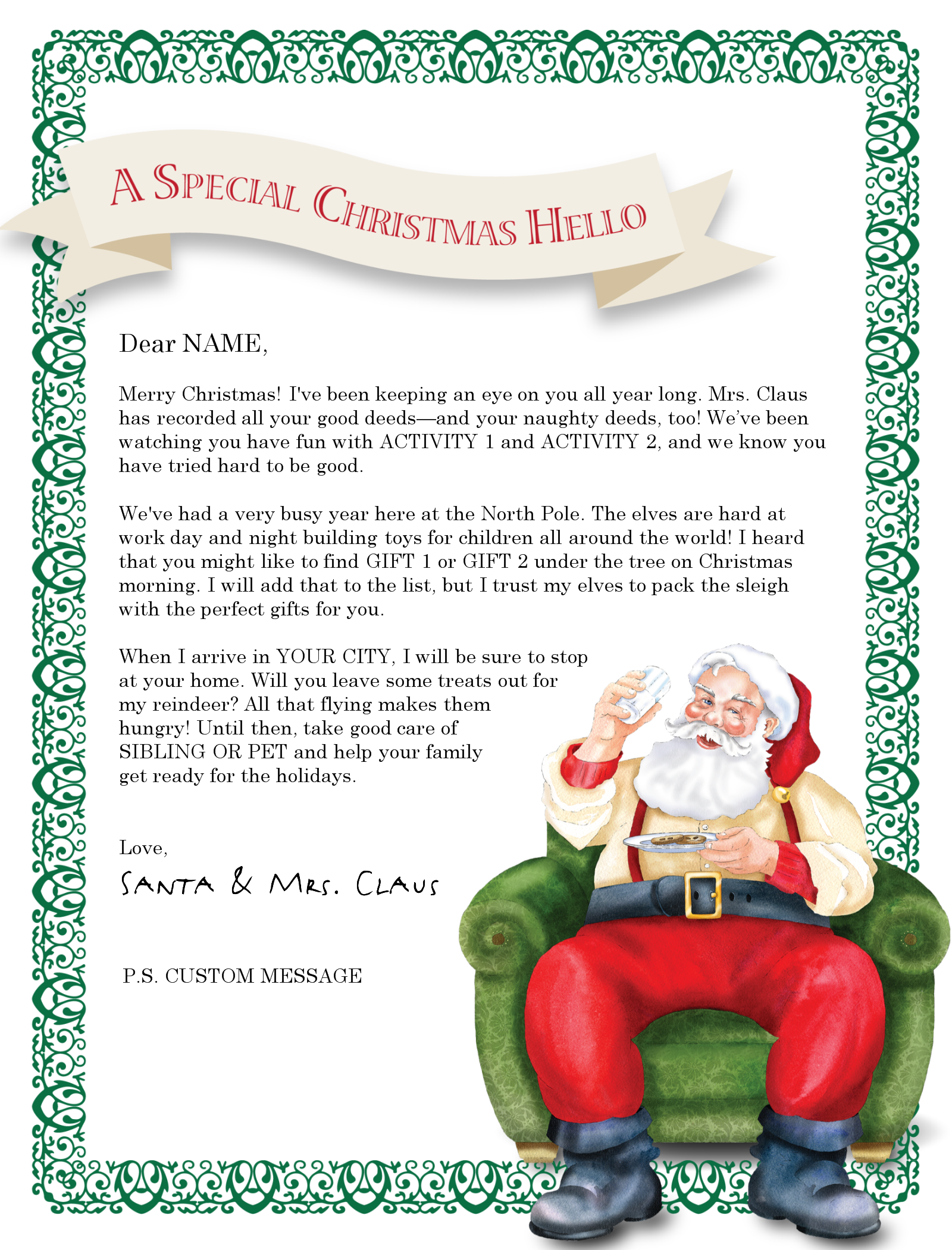 A cute MS Word Santa letter template from Christmas Letter Tips – Free Christmas Templates for Word