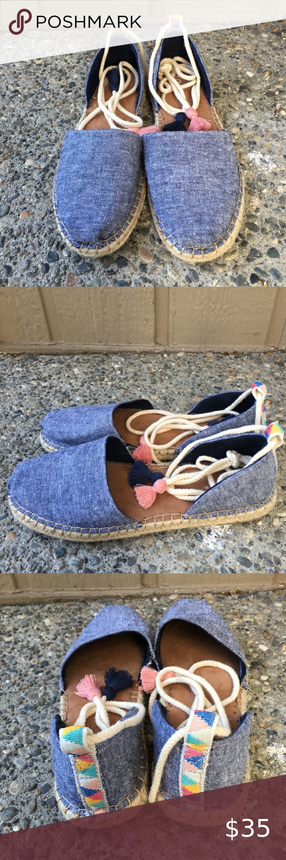 Spotted while shopping on Poshmark TOMS Chambray Denim Espadrilles Katalina 9 Laces