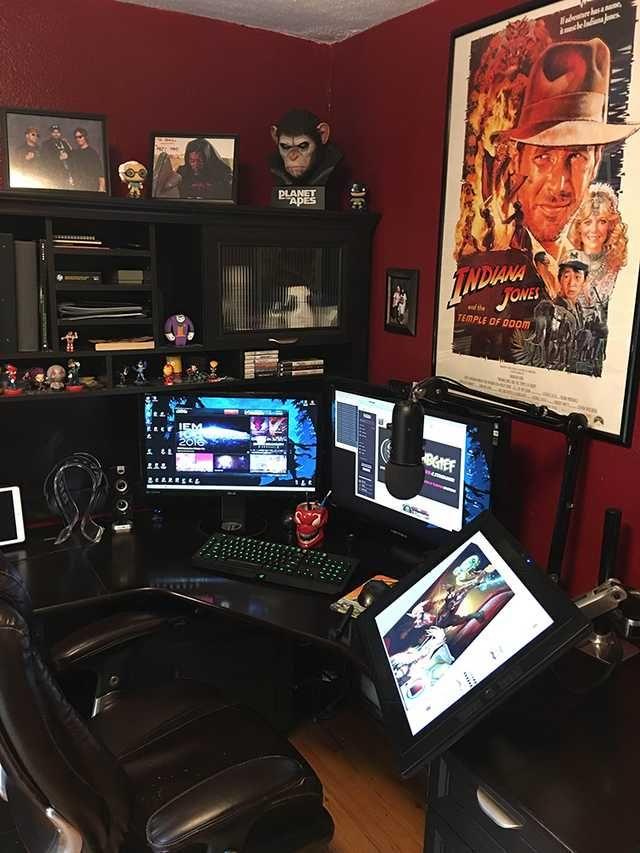 My Gaming, Illustration and Streaming Battlestation #gamingdesk