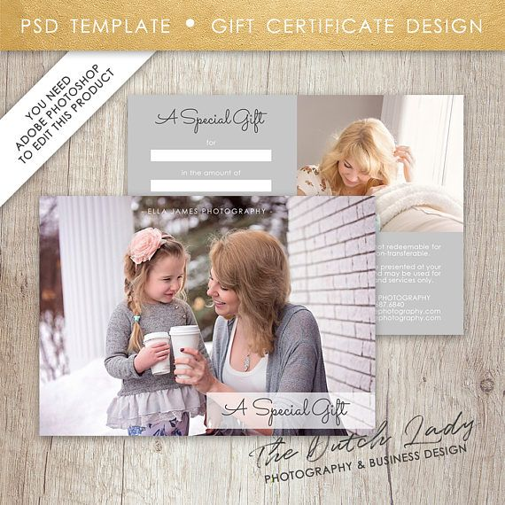Photography Gift Certificate Template - Design #19 - INSTANT - certificate template software