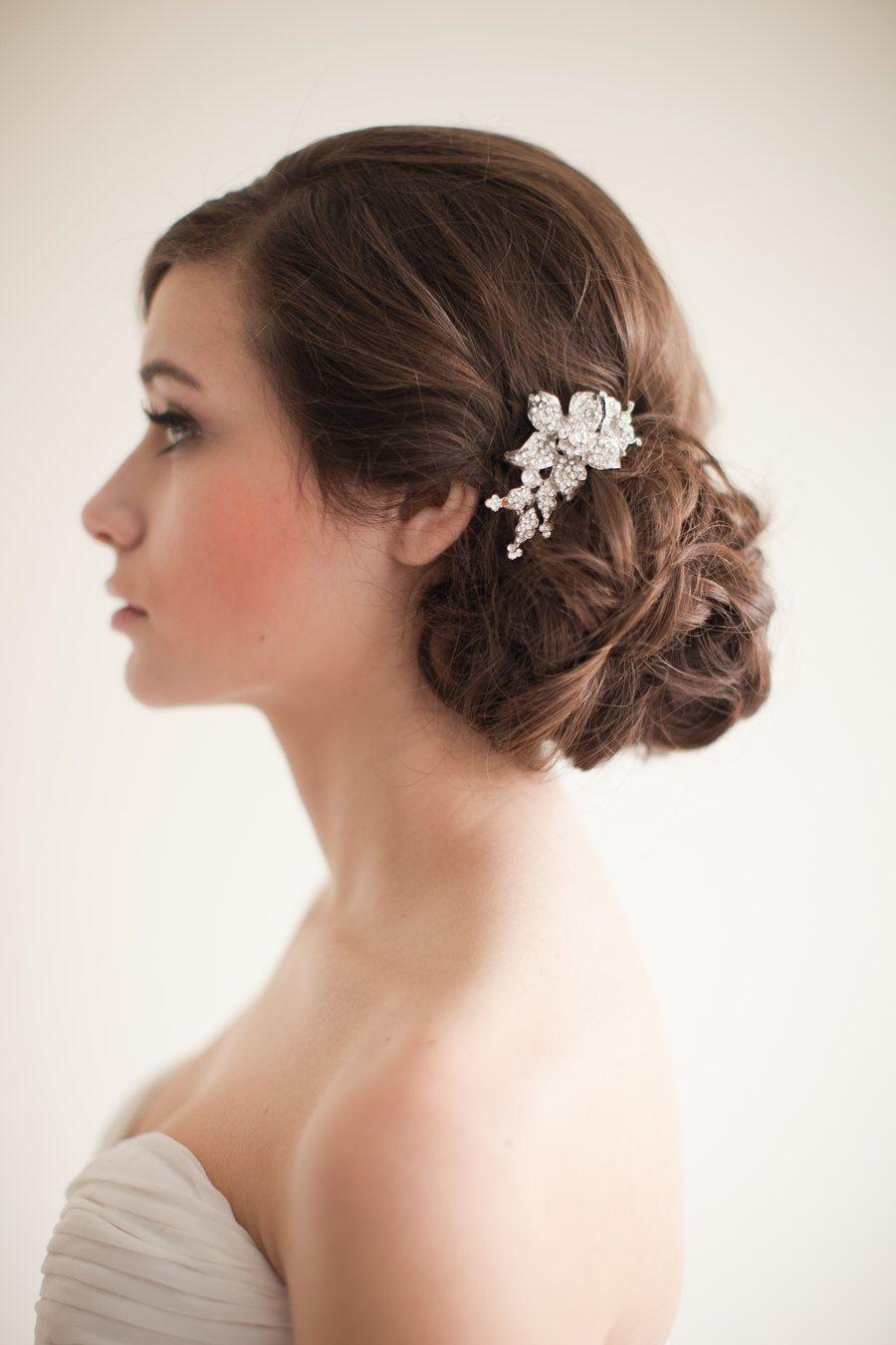 flower rhinestone bridal comb, floral rhinestone comb, jeweled