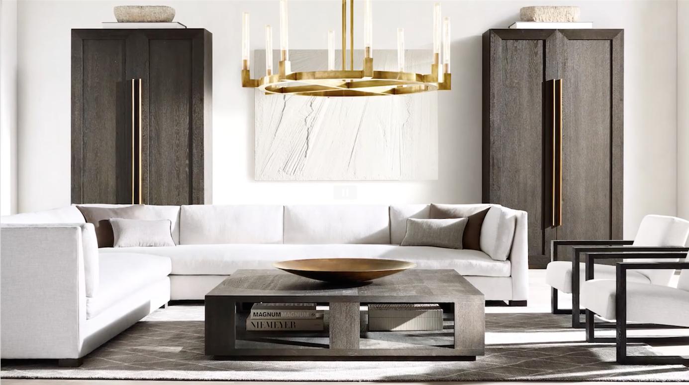 Kiki S List Restoration Hardware Living Room Contemporary Interior Design Restoration Hardware Modern [ 773 x 1385 Pixel ]