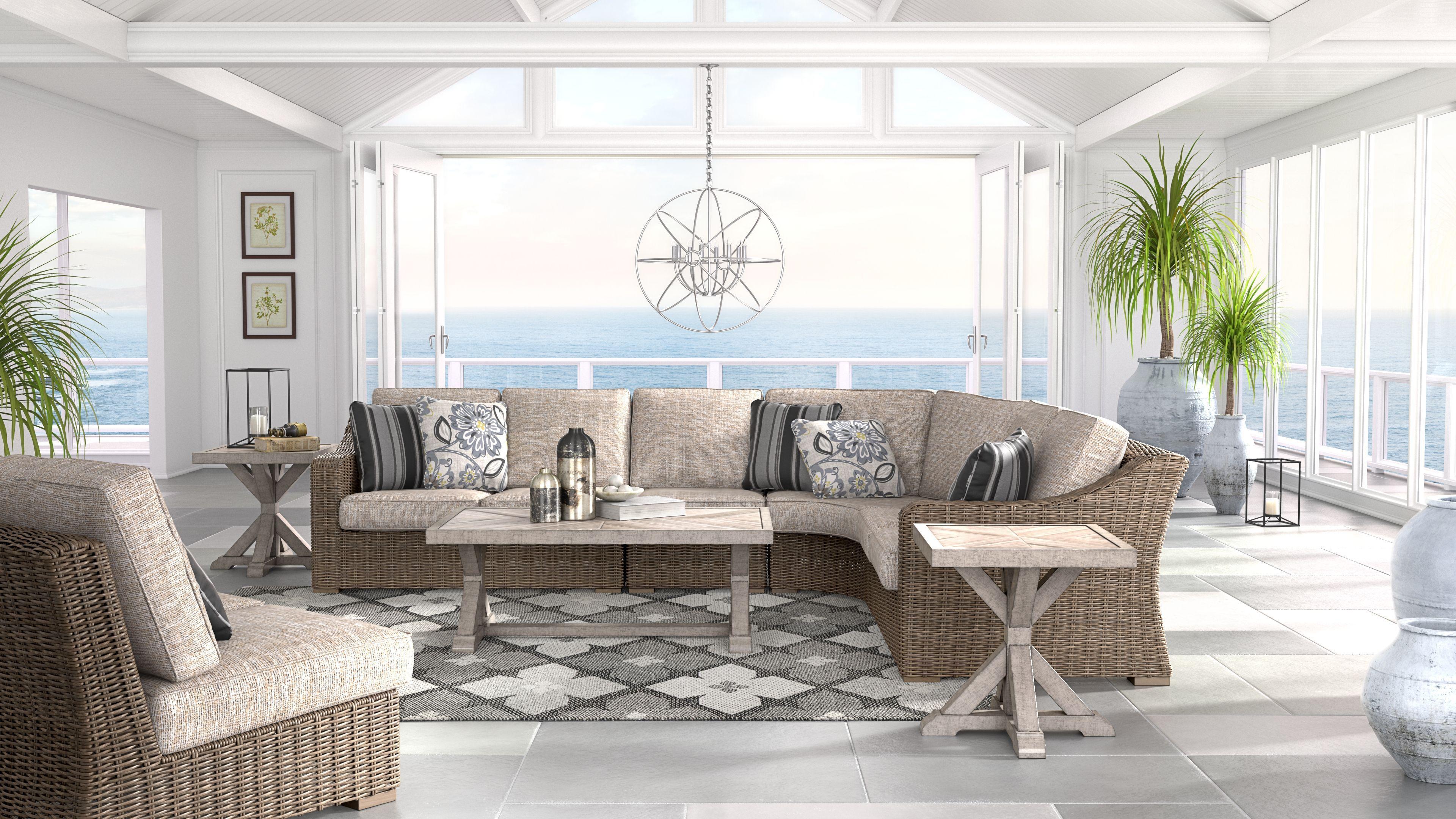 Beachcroft 5-Piece Outdoor Seating Set, Beige # ... on Beachcroft Beige Outdoor Living Room Set  id=15183