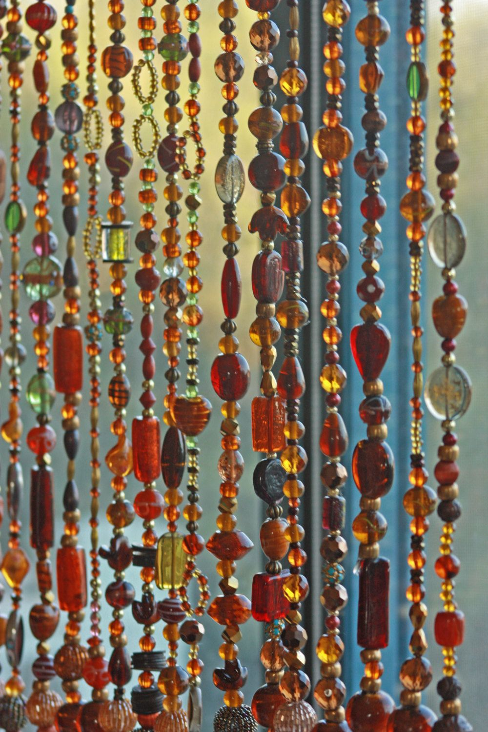 Beaded Curtain-Glass Beaded Suncatcher- Window Curtain-Beaded Door Curtain- Hanging Door Beads-Beaded Wall Hanging-Bohemian Wall Art-Wall Art