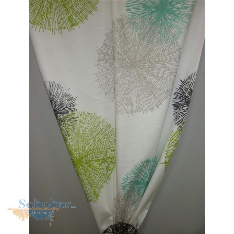 Deko Stoff Gardine Vorhang Kreise Pusteblume weiß grün grau