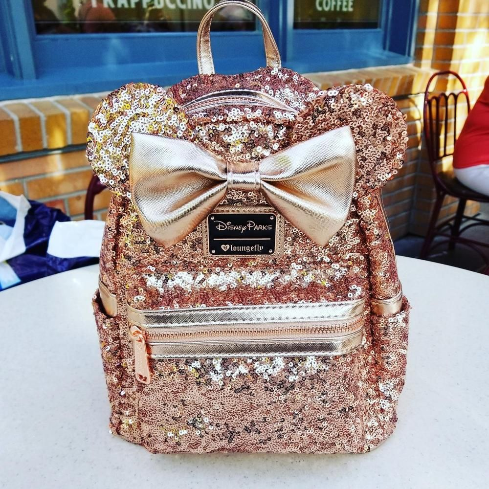 d606bae7d0f Disney Parks Minnie Mouse Rose Gold Loungefly Backpack New  Loungefly   Backpack