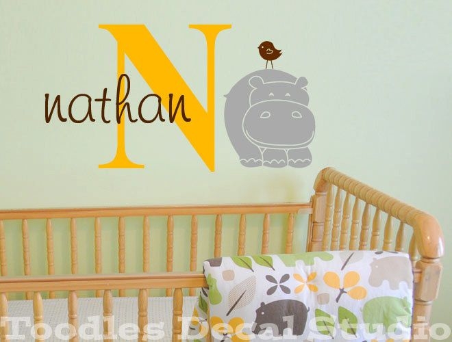 Hippo Safari Jungle Name Initial Kids Vinyl Wall Decal Sticker | The ...