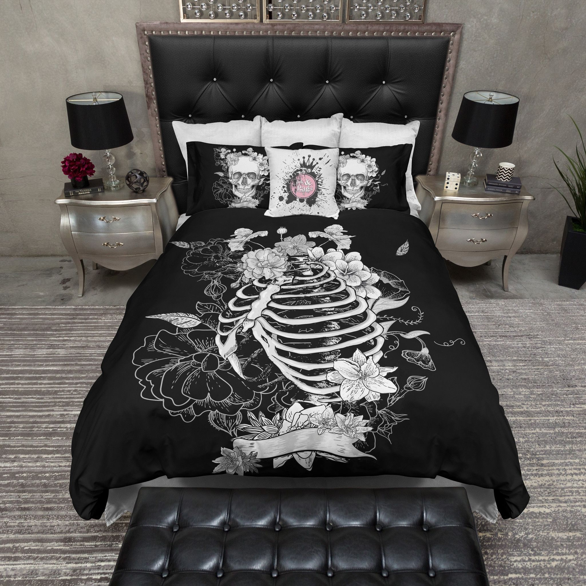 Skull Bedroom Decor Red And Black Collage Skull Duvet Bedding Sets Cases Side