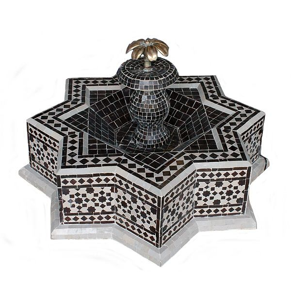 Jardin Arabe: Fuente De Agua Mosaico Estrella Marrón