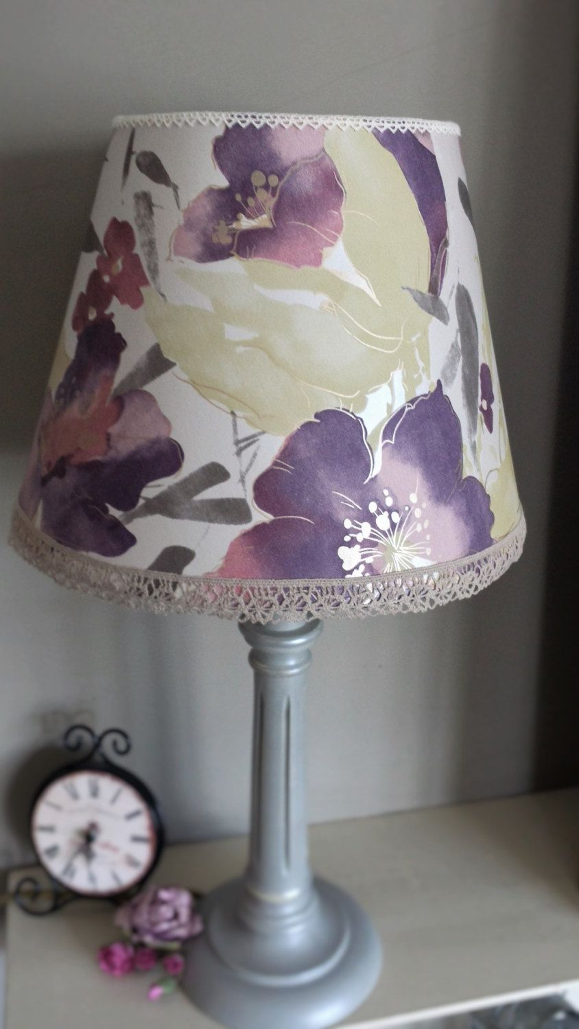 Lamp Shade Purple Floral Shade Watercolour Style Flowers With Metallic Silver Background Table Lamp Shade Upcycled Lig Purple Lamp Shade Purple Lamp Lamp Shade