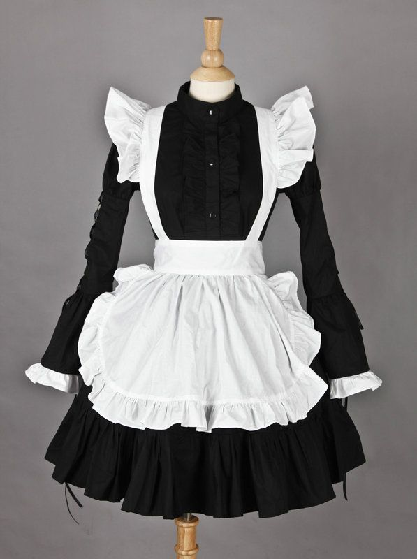 Long Sleeves Lovely Cotton Cosplay Maid Costume  34ee08be0726