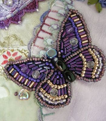 I ❤ crazy quilting . . . and the beading on this butterfly- Allie's in Stitches: crazy quilt blocks