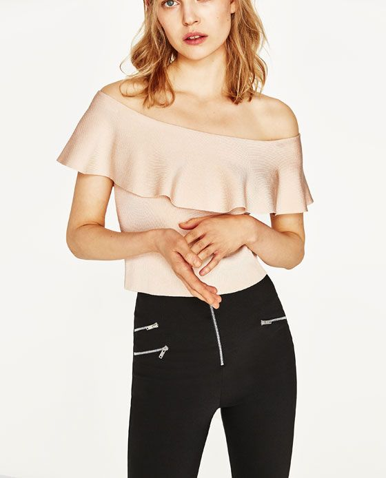 Image 2 of OFF-THE-SHOULDER TOP WITH FRILL from Zara