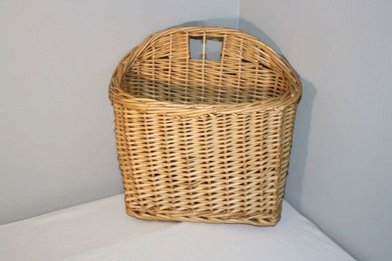 Vintage Hanging Wicker Basket Wall Mounted Magazine Rack Unique Items Products Basket Decorative Wicker Basket