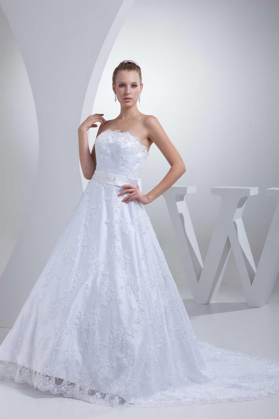 Satin natural waist chapel train lace zipper bowknot wedding dress
