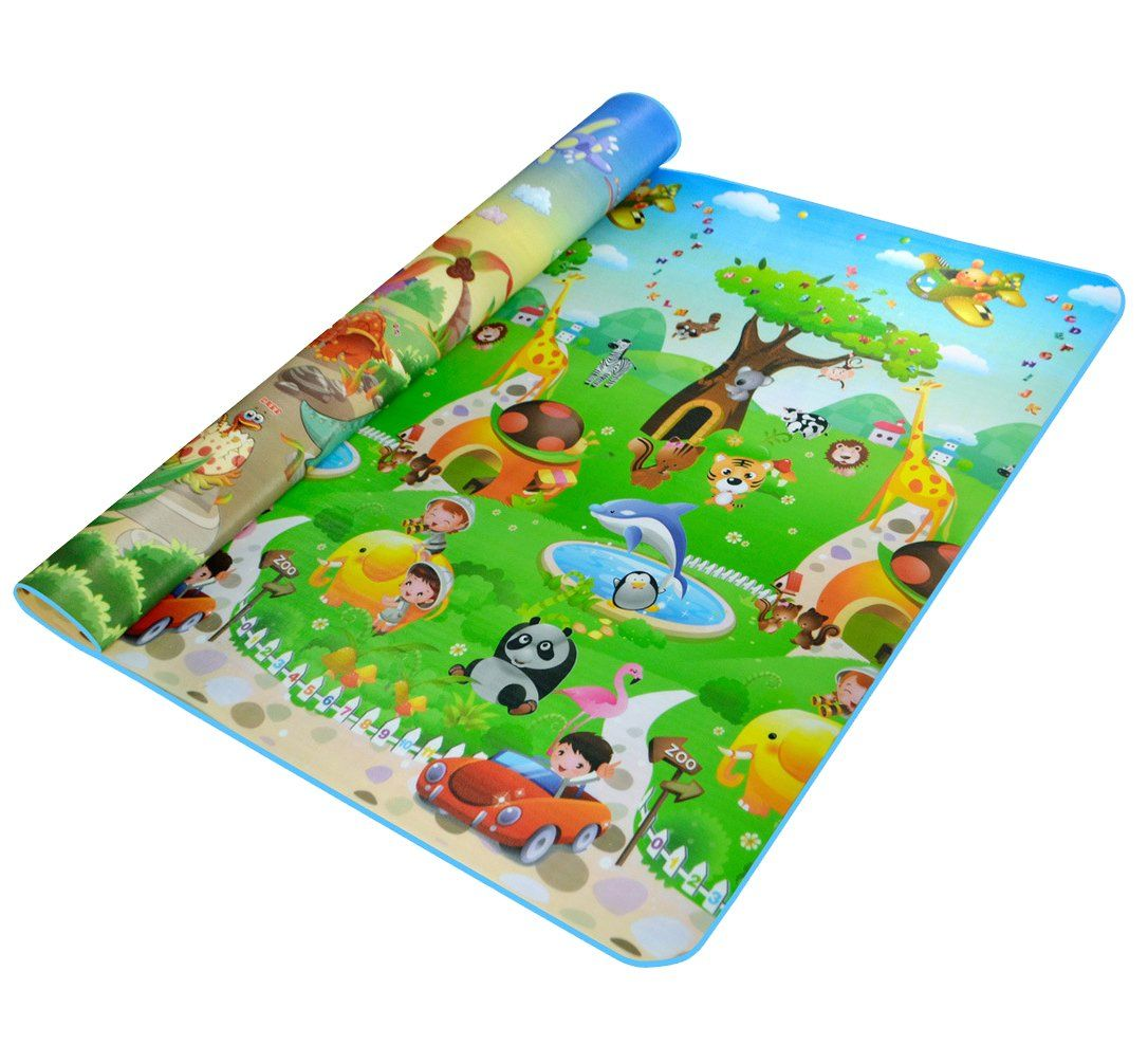 Double-side Waterproof Baby Play Mat Soft Environment-friendly Toddler Play Mat (Dinosaur + Zoo)