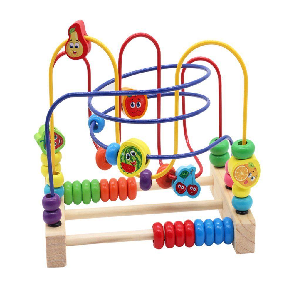 Nuheby Motorikschleife Motorikw Rfel Holzspielzeug Baby Mit 3 Farbspuren Und Fruchtperlenlabyrinth Geschenk F R K In 2020 Holzspielzeug Baby Motorikspielzeug Spielzeug