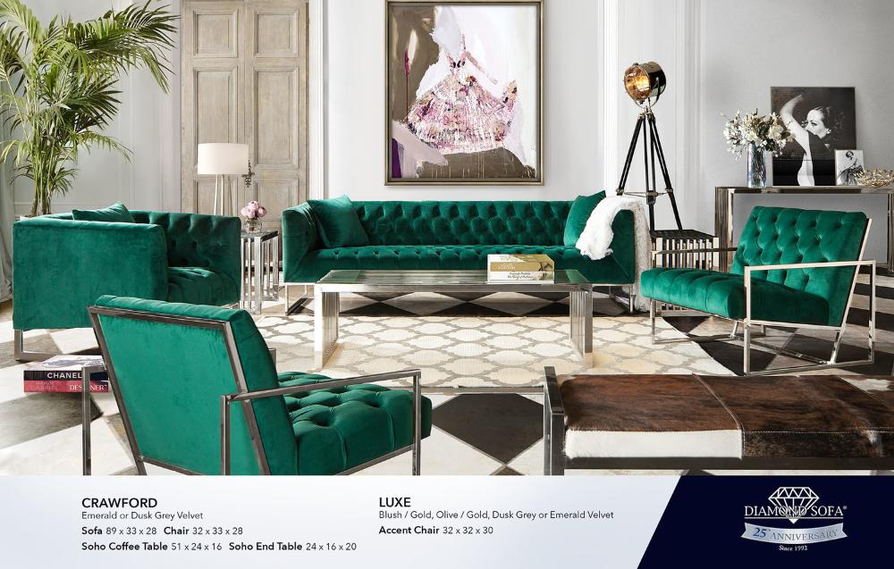Living Room Diamond Sofa Green, Diamond Furniture Living Room Sets