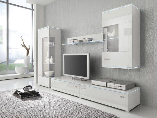 Wohnwand anbauwand weiß fronten hochglanz optional led