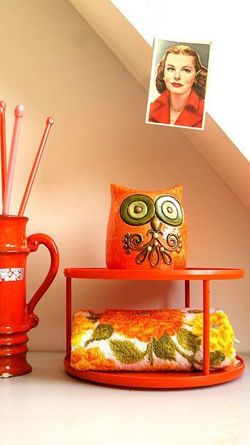 sweet orange vintage owl