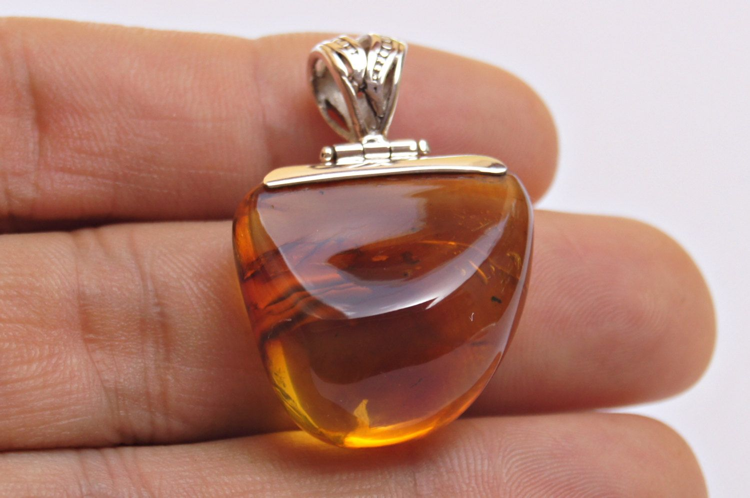 Original And Genuine Dominican Free-Shaped Yellow Amber .925, Sterling Silver Reversible Pendant Necklace Jewelry by DominicanArts on Etsy