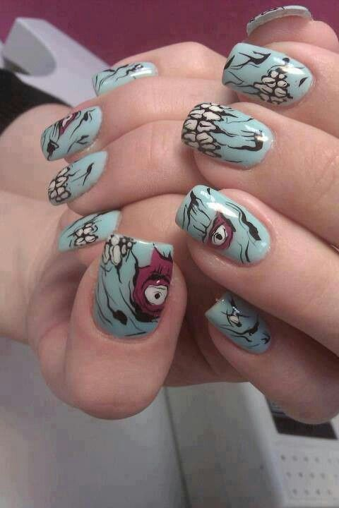 Turquoise gruesome monster nails, great Halloween nail design!
