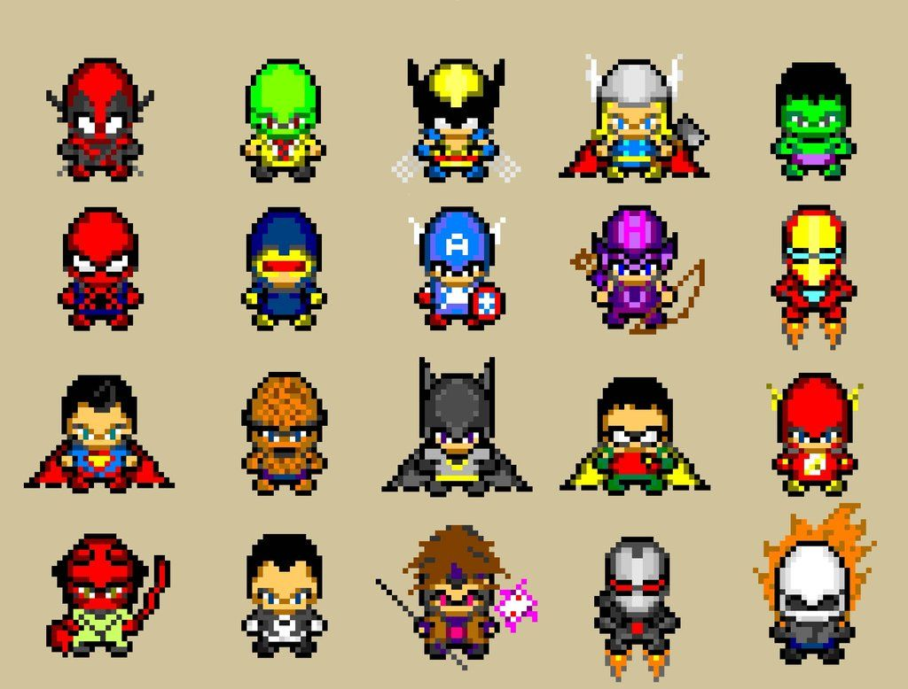 pixel art super hero