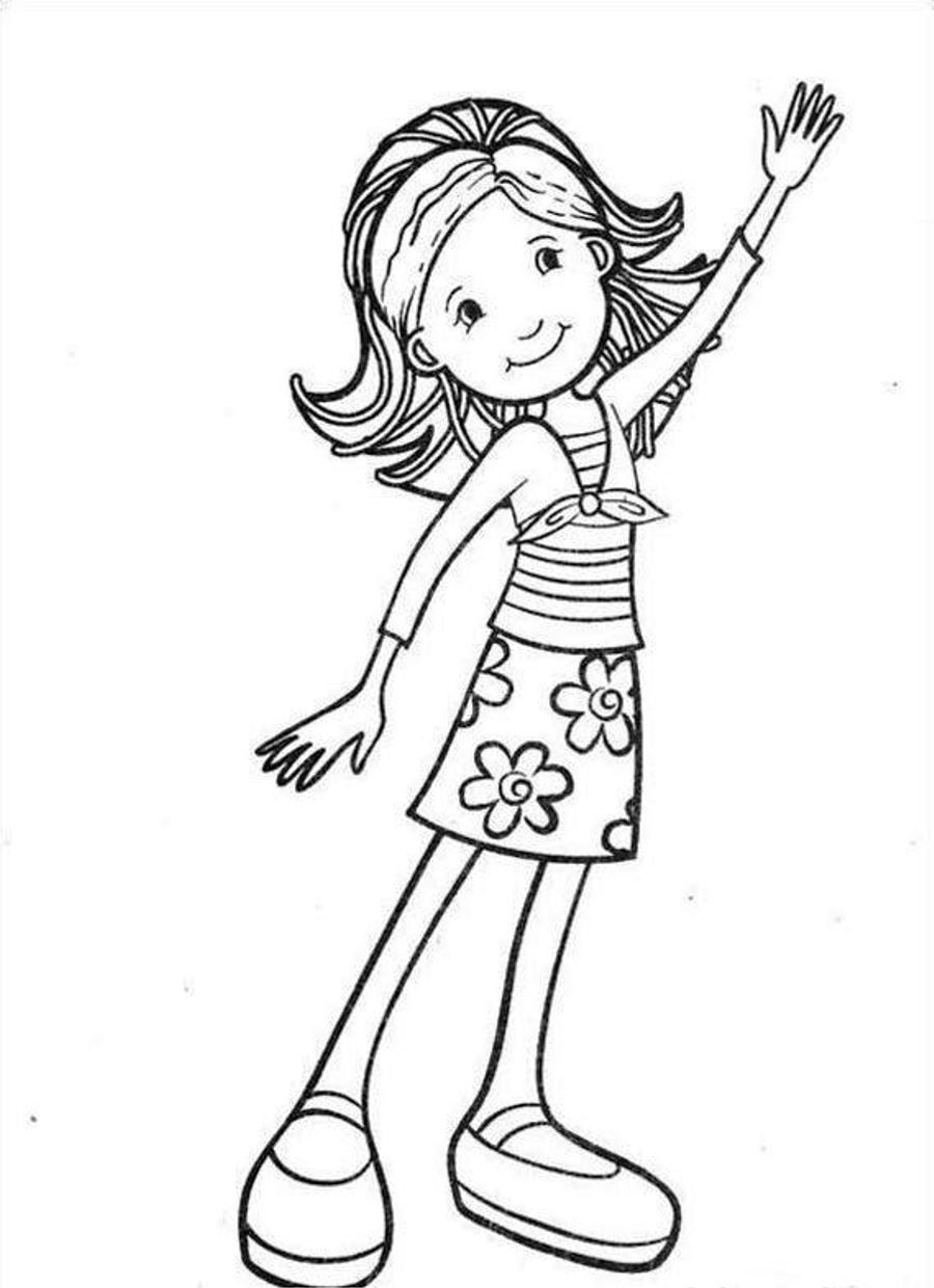 Waving Groovy Girl Coloring Page