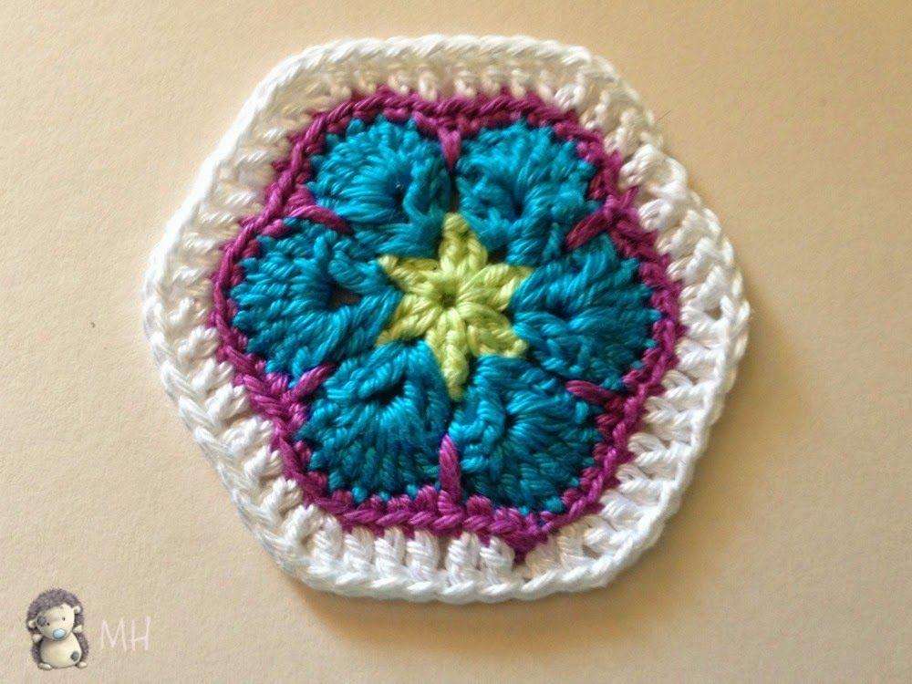 Hexagono Flor Africana xa buho | Búhos | Pinterest | Flores ...