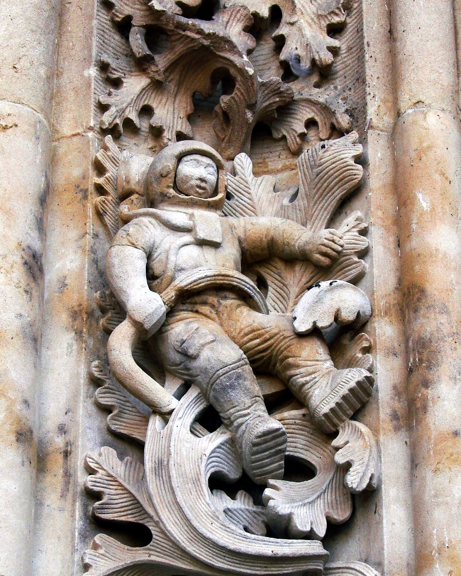 Inca astronaut carving