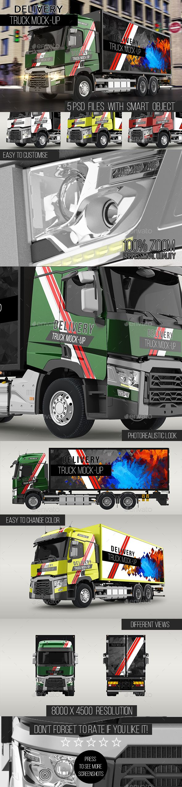 Delivery Truck #Mock-Up - Vehicle Wraps Print Download here: https://graphicriver.net/item/delivery-truck-mockup/19613019?ref=alena994