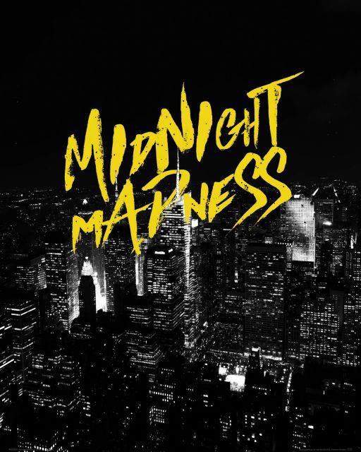 Zolty Tekst Midnight Madness Miasto Noca Plakat Sklep Nice Wall Poster Movie Posters Art