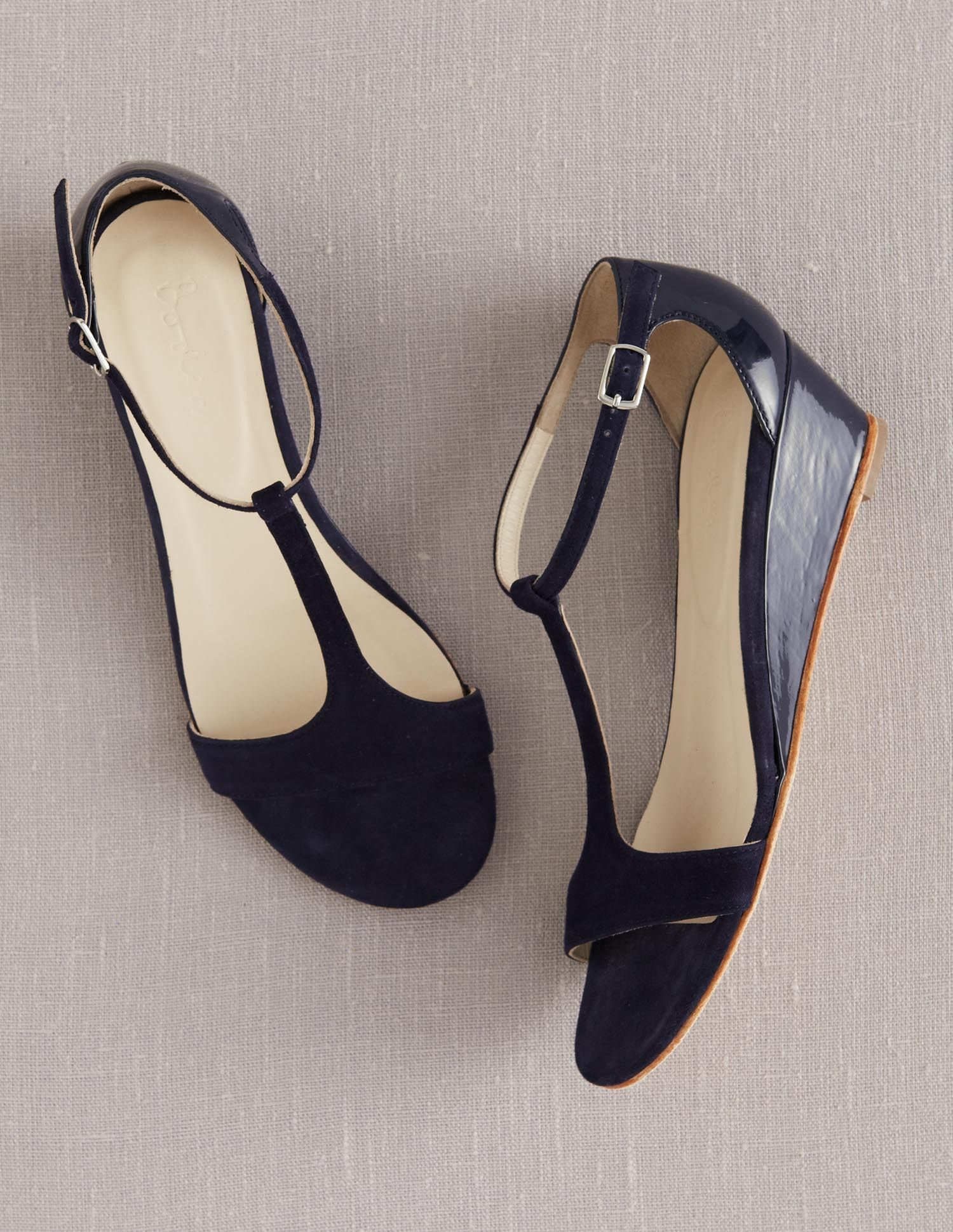 Womens sandals wedges - Details About Boden Women S Brand New T Bar Demi Wedges Shoes Sandals Navy Blue Patent Leather