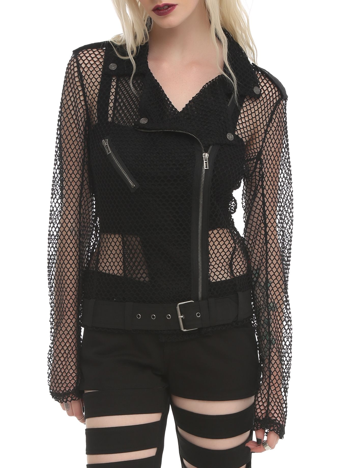 Showin' flesh in our Mesh Moto Jacket.