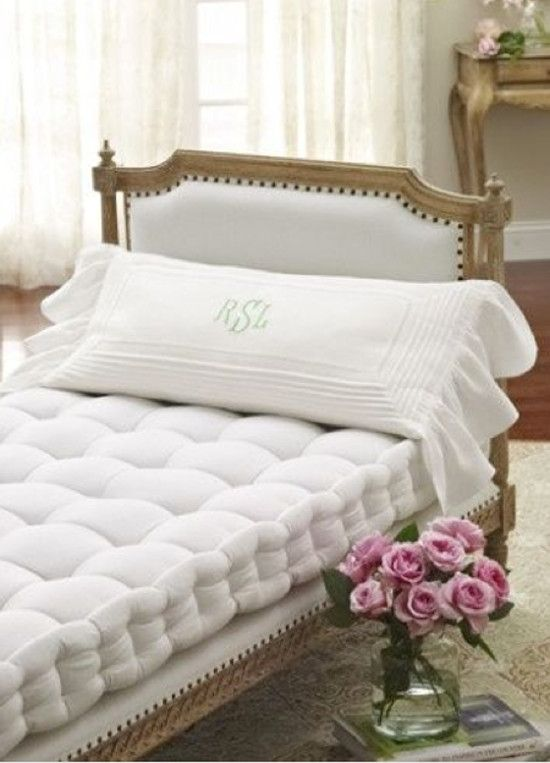 French mattress - white upholstered wood-frame French daybed with