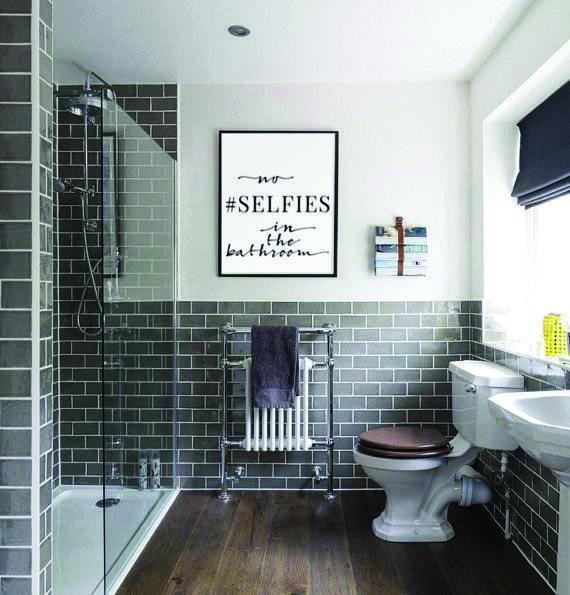 No Selfies In The Bathroom Sign