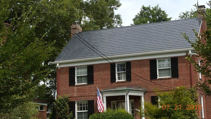 Metal roof colors on red brick house google search red for Red brick house with metal roof