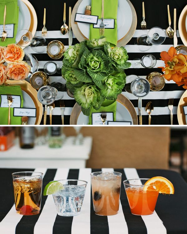 Fresh & Sophisticated Dinner Party {Black, White & Gold