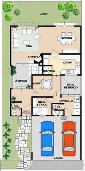 Planos de casa habitaci n de dos niveles en un terreno de for Planos de casas de dos niveles