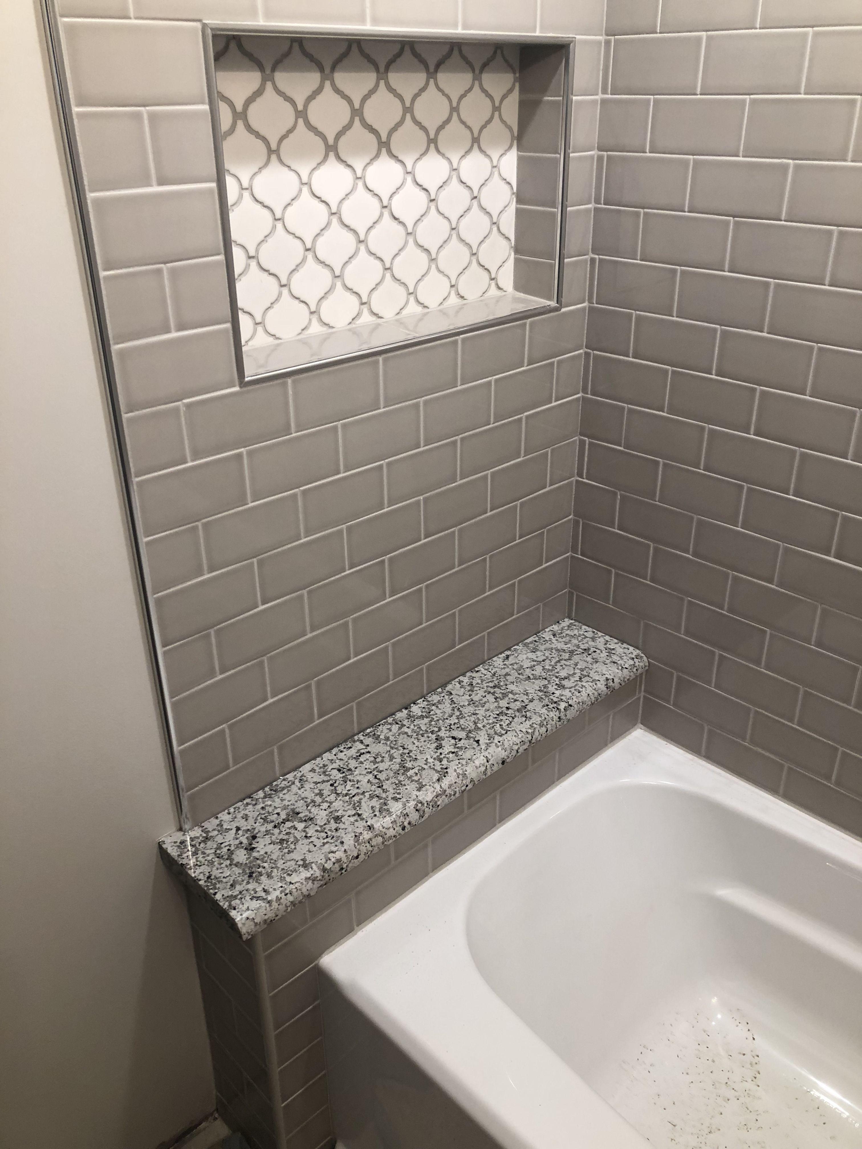 Arabesque Shower Niche And Pearl Gray Subway Tile Bathtub