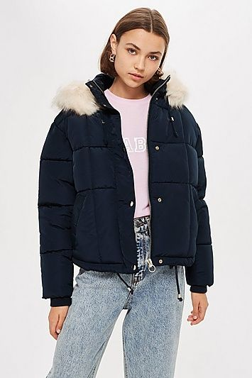 f0f508393 PETITE Navy Faux Fur Quilted Puffer Jacket in 2019 | Canada cloth ...