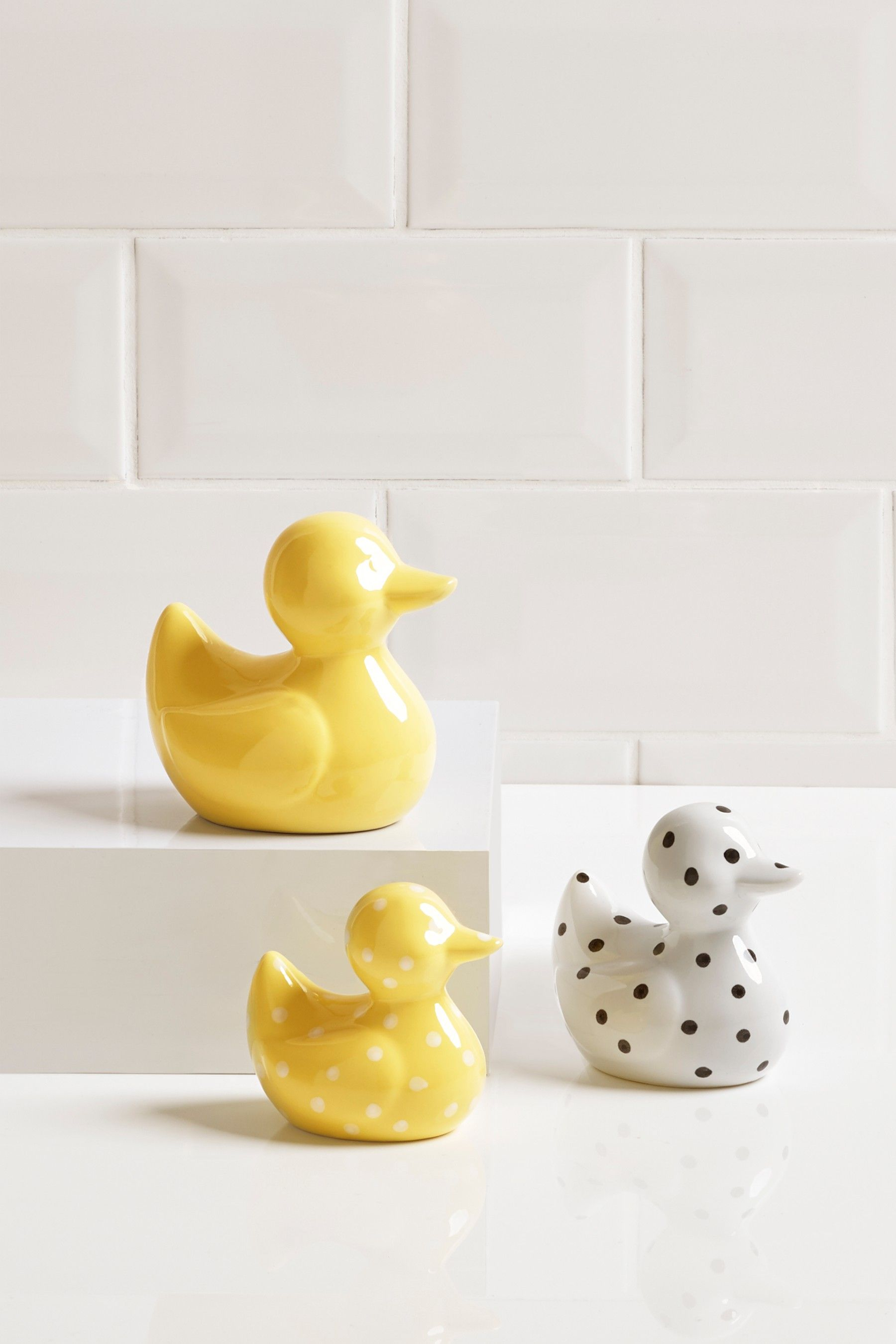 Next Set Of 3 Ceramic Ducks Yellow Bathroom Ornaments Bathroom Decor Bathroom Accessories