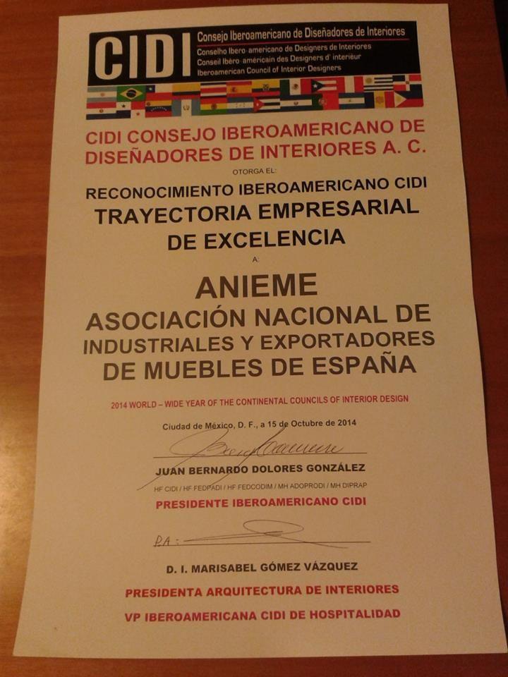 Reconocimiento CIDI a ANIEME (Asociacion Nacional de Industriales y Exportadores de Muebles de España)