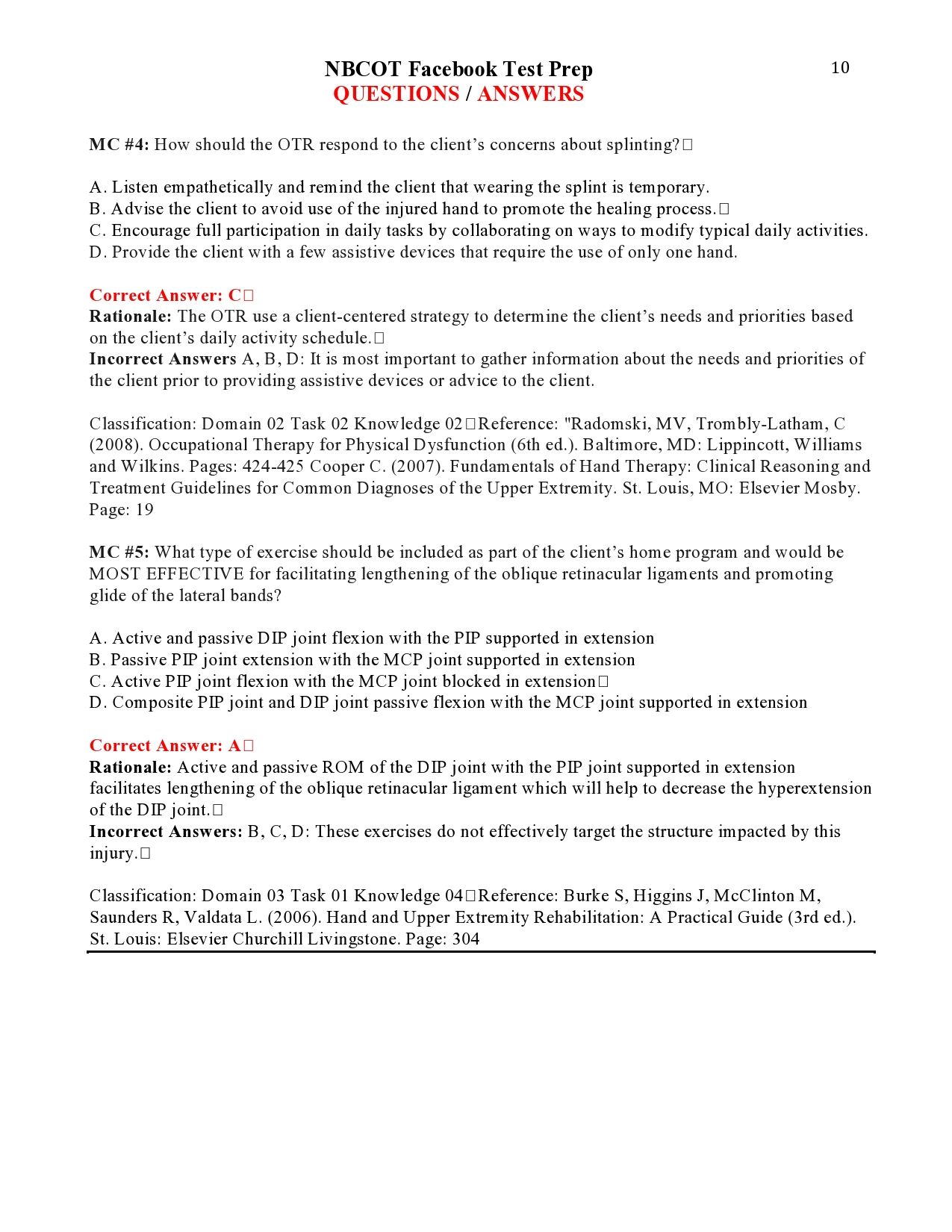 Nbcot Facebook Test Prep Questions Answers Page 10