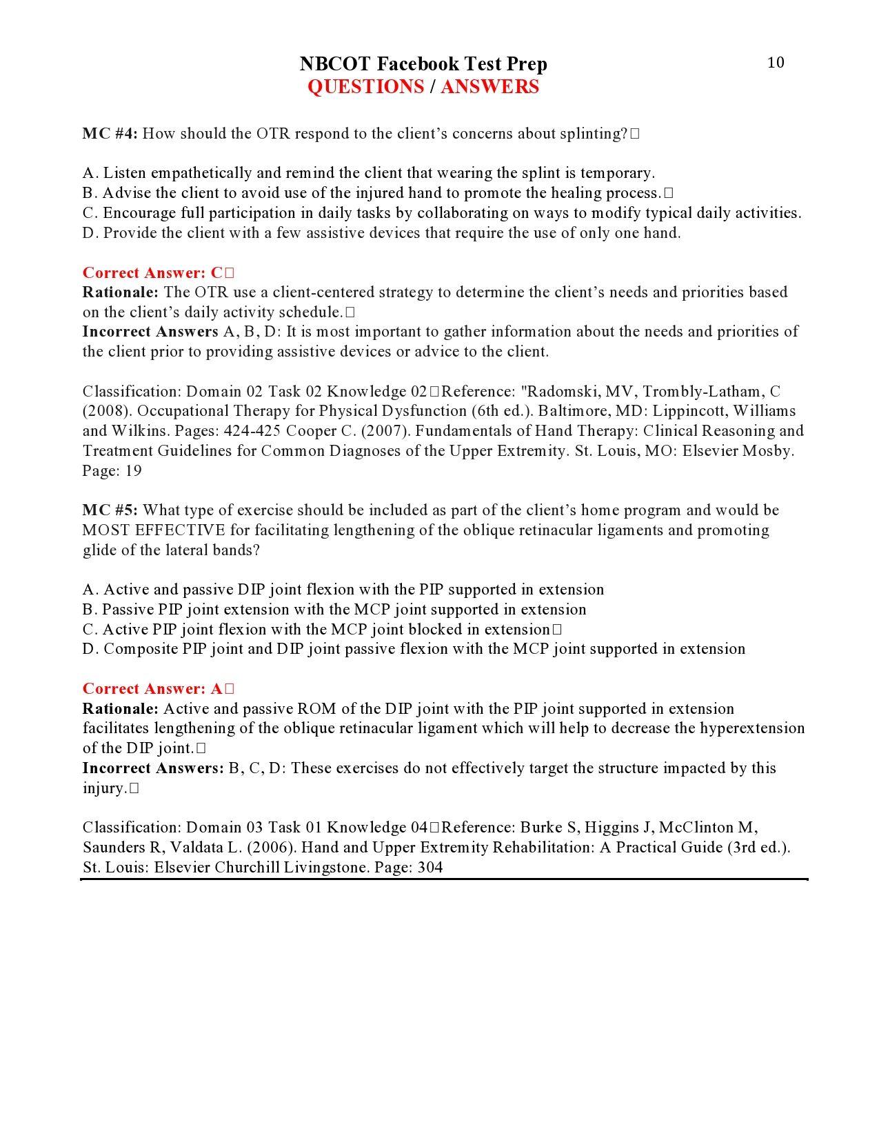 Nbcot Facebook Test Prep Questions Page 9 Nbcot Pinterest
