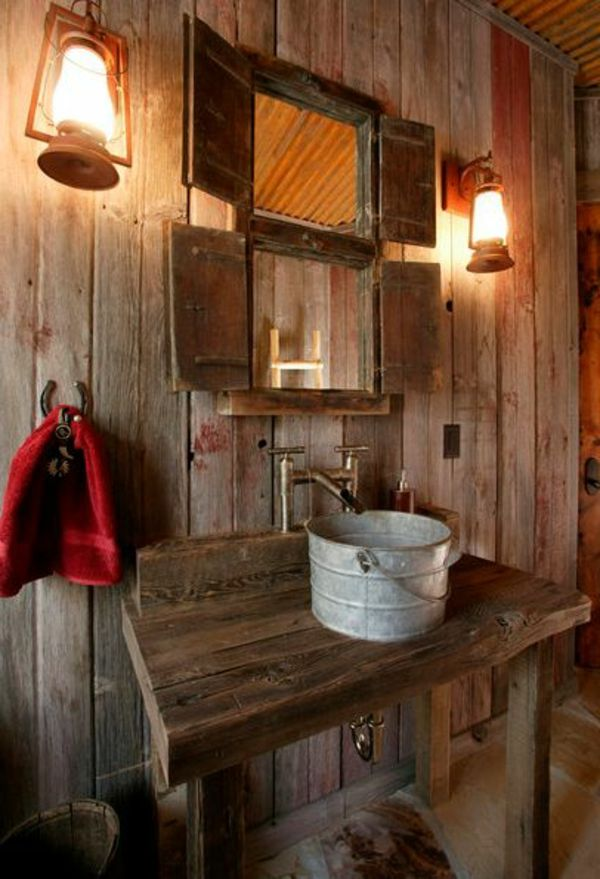 rustikale badezimmer holz waschbecken idee - Rustikale Badezimmermoebel