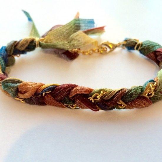 Multicolored Ribbon Chain Braid Bracelet